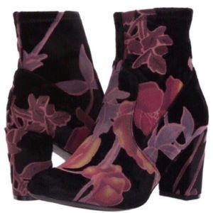Steve Madden Emison Purple Floral Velvet Booties